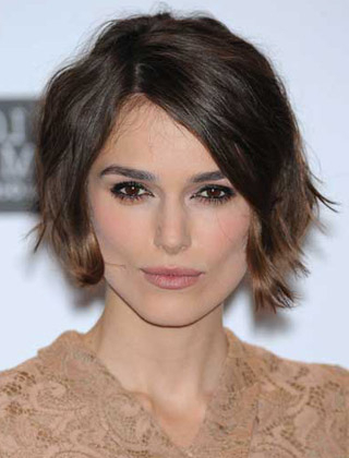 Keira Knightley's Tousled Wavy Bob Hairstyle Intended For Tousled Wavy Bob Haircuts (View 6 of 25)