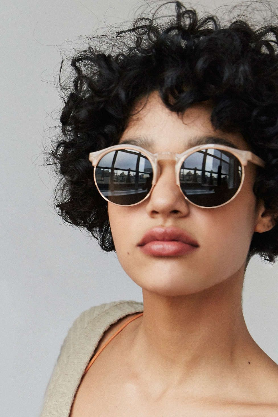 Keyhole Round Half Frame Sunglasses | Fashion | Pinterest | Hair Within Short Hairstyles For Round Faces And Glasses (View 24 of 25)