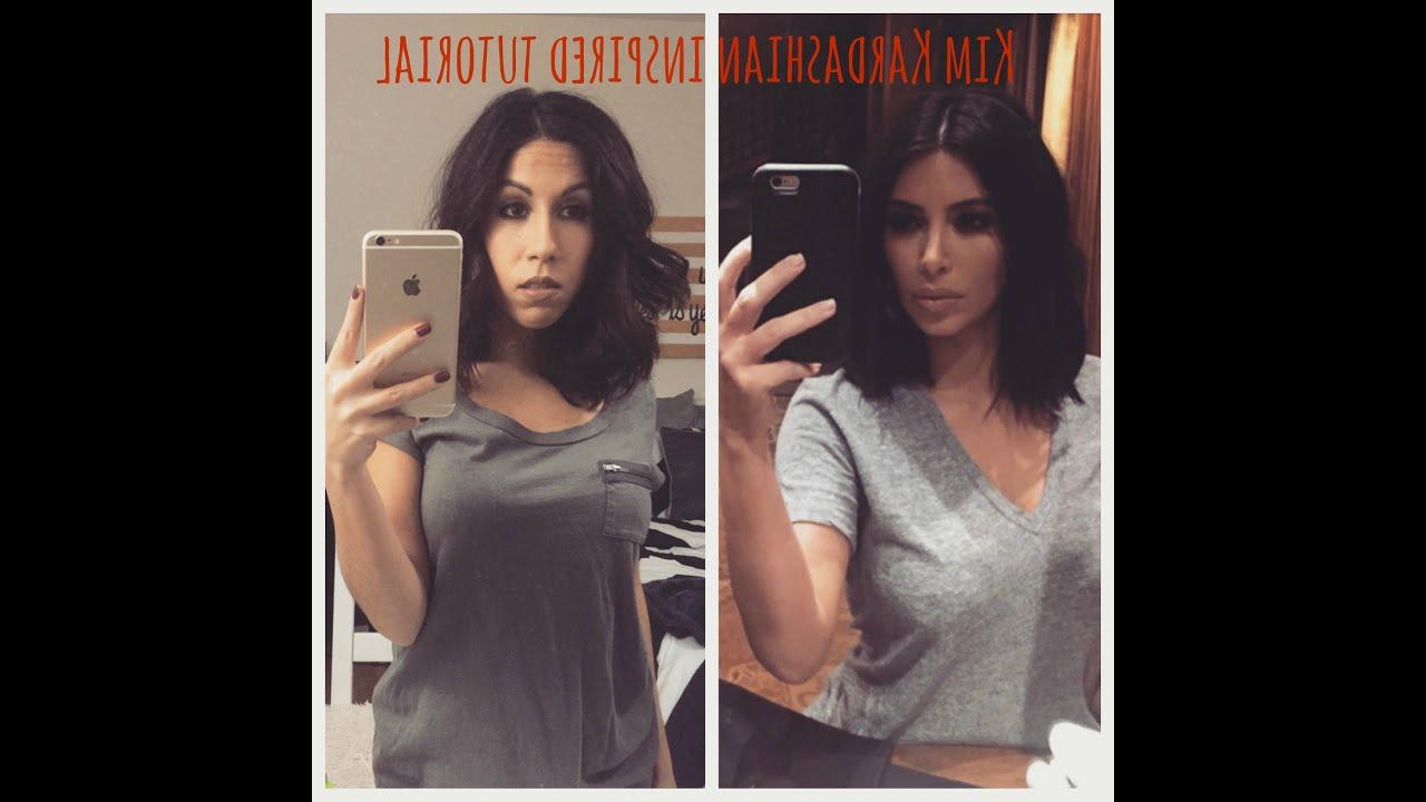 Kim Kardashian Inspired Makeup & Hair Tutorial – Youtube Within Kim Kardashian Short Haircuts (View 18 of 25)