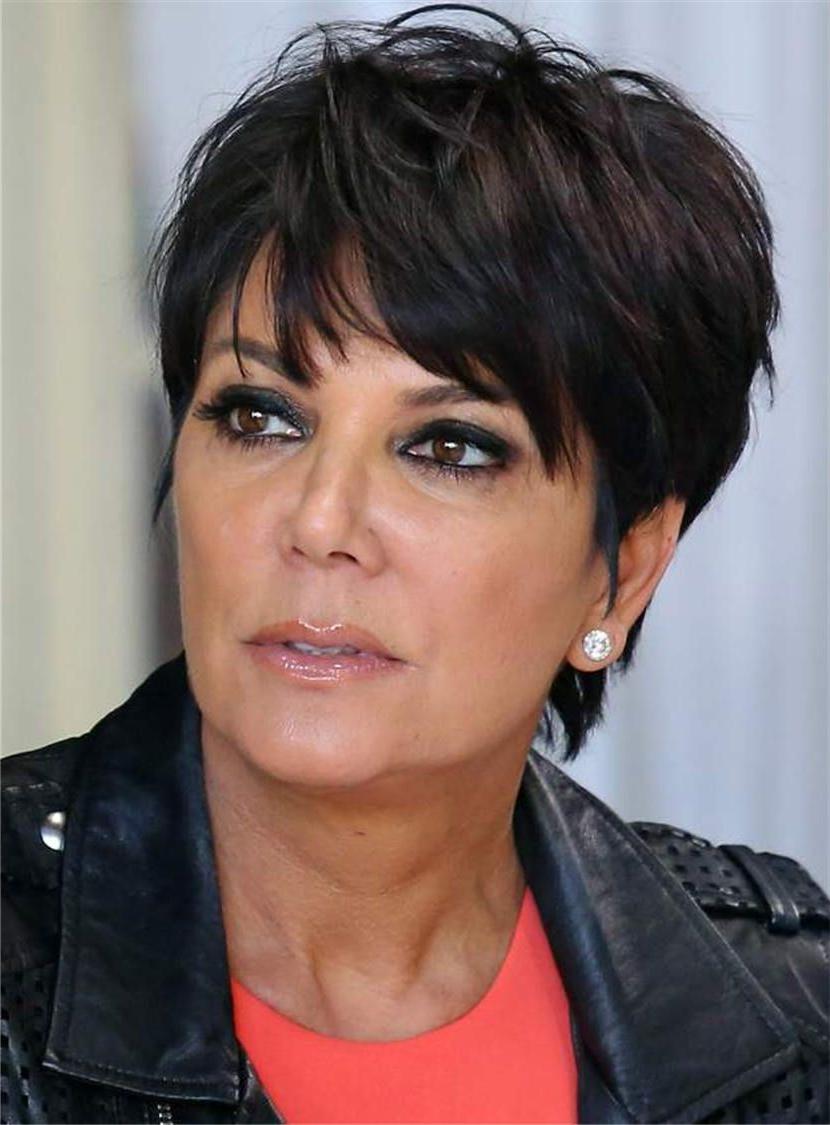 Kris Jenner Short Straight Human Hair Capless Wigs For Older Women Intended For Kris Jenner Short Hairstyles (View 3 of 25)