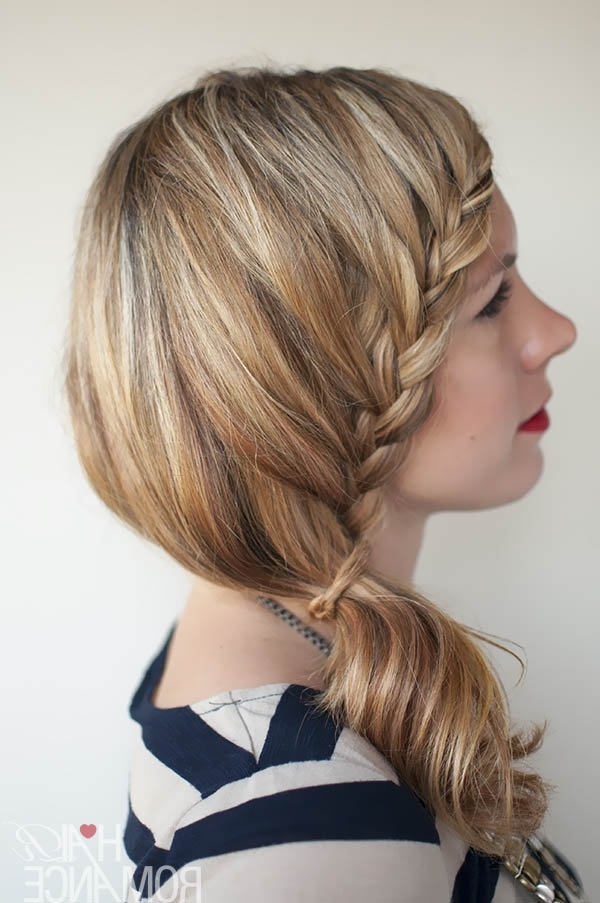 Lace Braid Hairstyle Tutorial – Hair Romance With Regard To Side Braid Ponytails For Medium Hair (View 8 of 25)