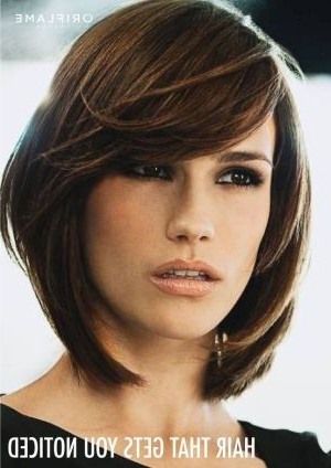 Layered Bob With Long Side Swept Bangs When I Decide To Cut My Hair With Layered Bob Hairstyles With Swoopy Side Bangs (View 16 of 25)