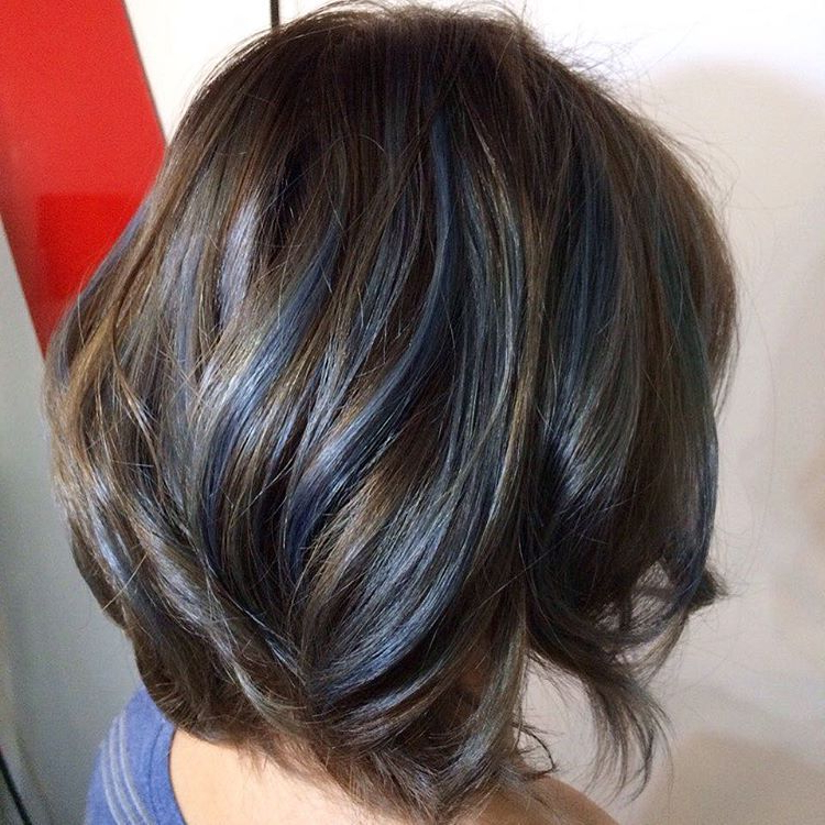 Layered Brown Bob With Blue Streaks | Brown Hair Color Ideas In 2018 With Regard To Blue Balayage For Black Choppy Bob Hairstyles (View 8 of 25)
