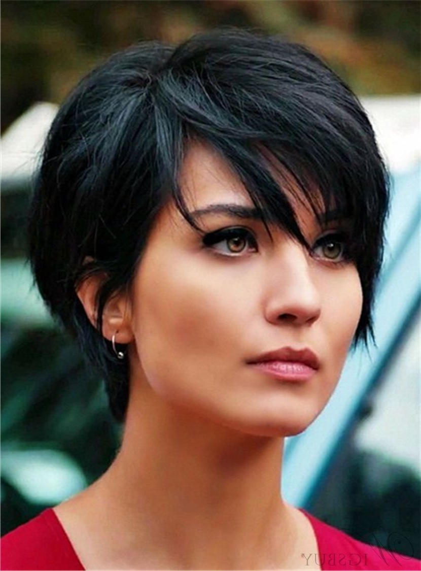 Layered Natural Black Pixie Short Messy Synthetic Hair With Straight pertaining to Shorter Black Messy Hairstyles