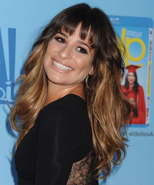 Lea Michele Long Straight Casual Hairstyle With Layered Bangs Intended For Long Feathered Espresso Brown Pixie Hairstyles (View 25 of 25)