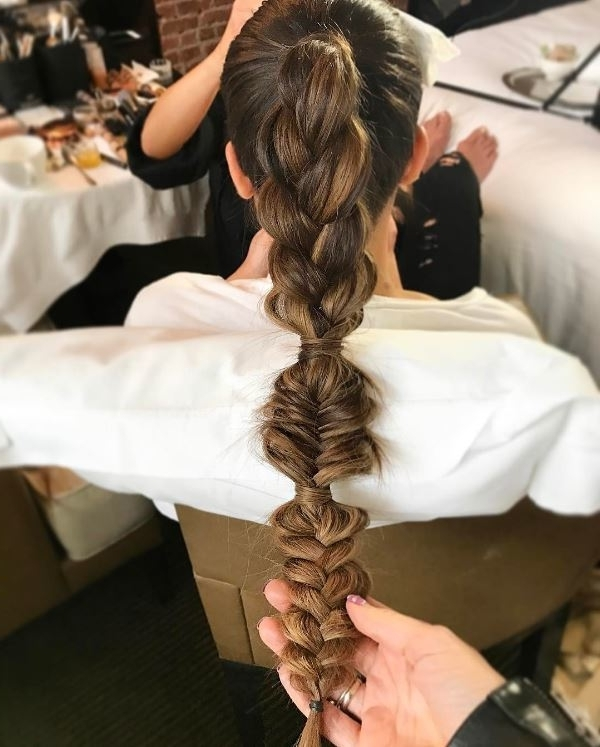 Lea Michele's Bubble Fishtail Braid Is The Stuff Of Hair Dreams Intended For French Braid Ponytail Hairstyles With Bubbles (View 19 of 25)
