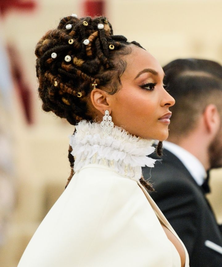 Loc Updos, Braids, And Twists For Wedding Season Intended For Regal Braided Up Do Ponytail Hairstyles (View 23 of 25)