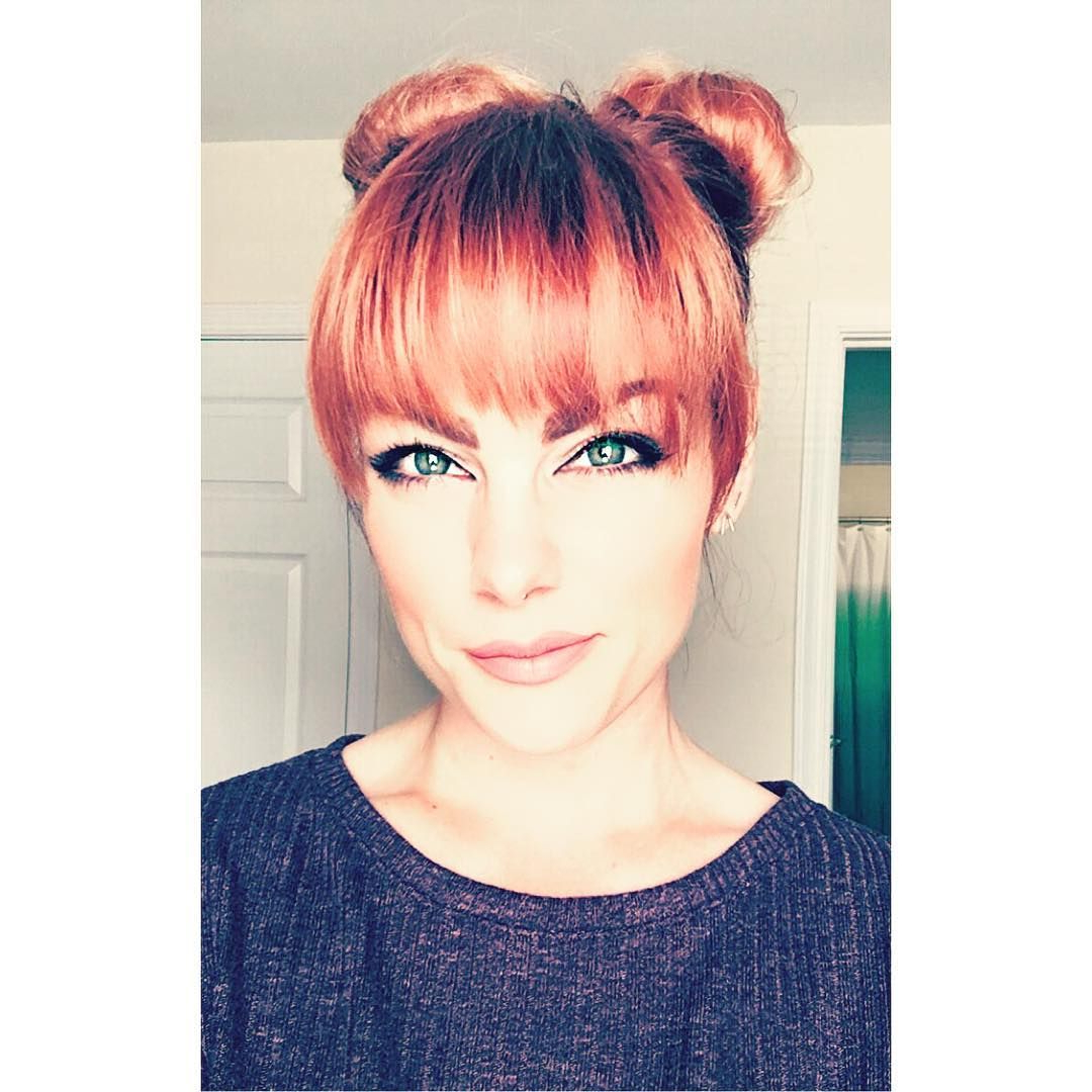 Long Bangs For Bright Fire Red Hair In High Double Buns   Long Bangs With Fire Red Short Hairstyles (View 3 of 25)