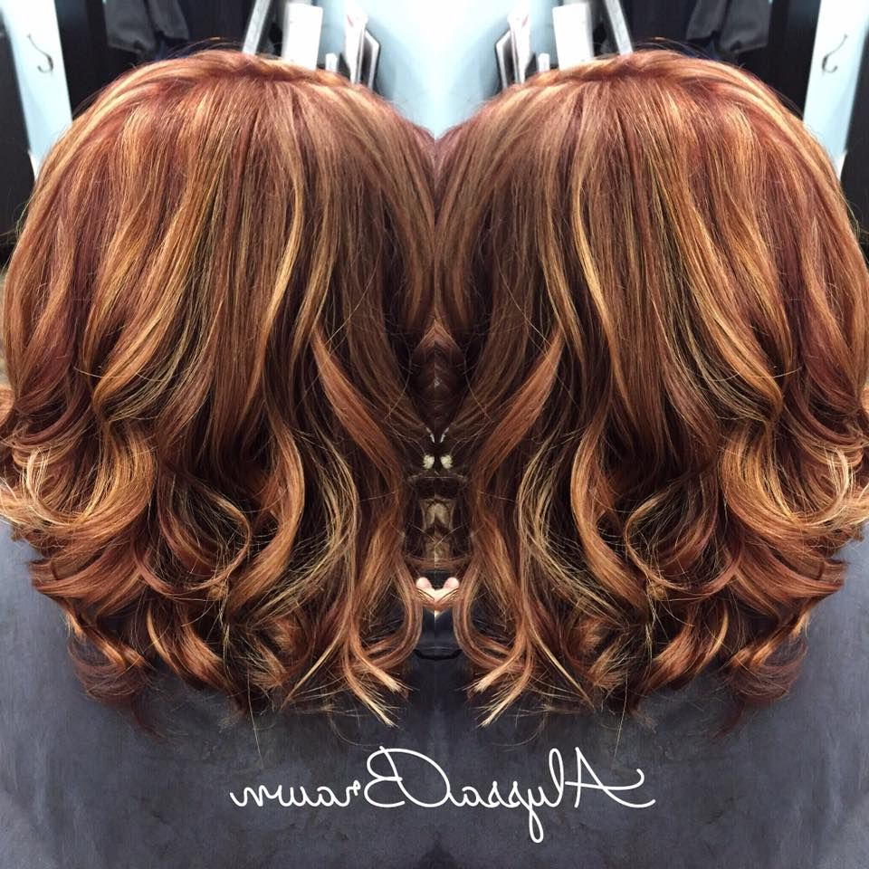 Long Bob, Short Hair, Red Hair, Caramel, Blonde Highlights, Auburn Inside Short Haircuts With Red And Blonde Highlights (View 7 of 25)