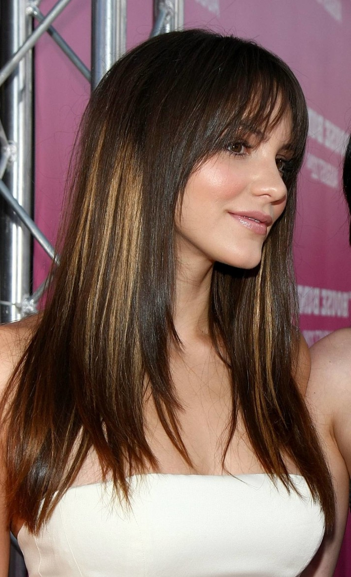 Long, Dark Brown Hair With Wispy Bangs And Blonde Highlights Pertaining To Wispy Short Haircuts (View 16 of 25)