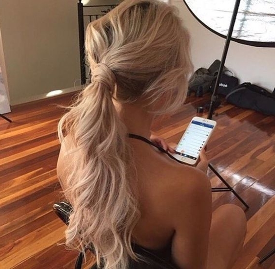 Long Hairstyles For Holiday | Laid Back | Messy | Boho | Ponytail Regarding Messy Blonde Ponytails With Faux Pompadour (View 3 of 25)
