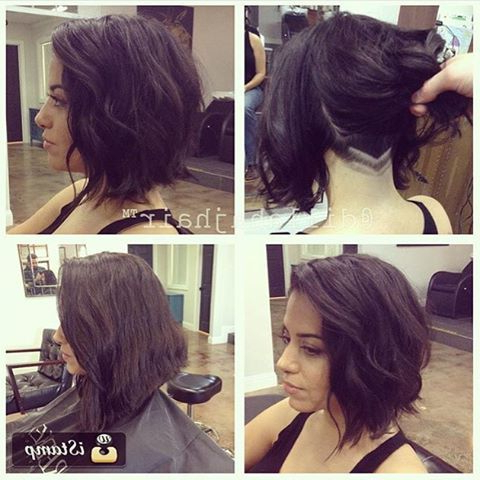 Long Wavy Bob With Shaved Nape Undercut@dillahajhair #ucfeed In Two Tone Curly Bob Haircuts With Nape Undercut (View 9 of 25)
