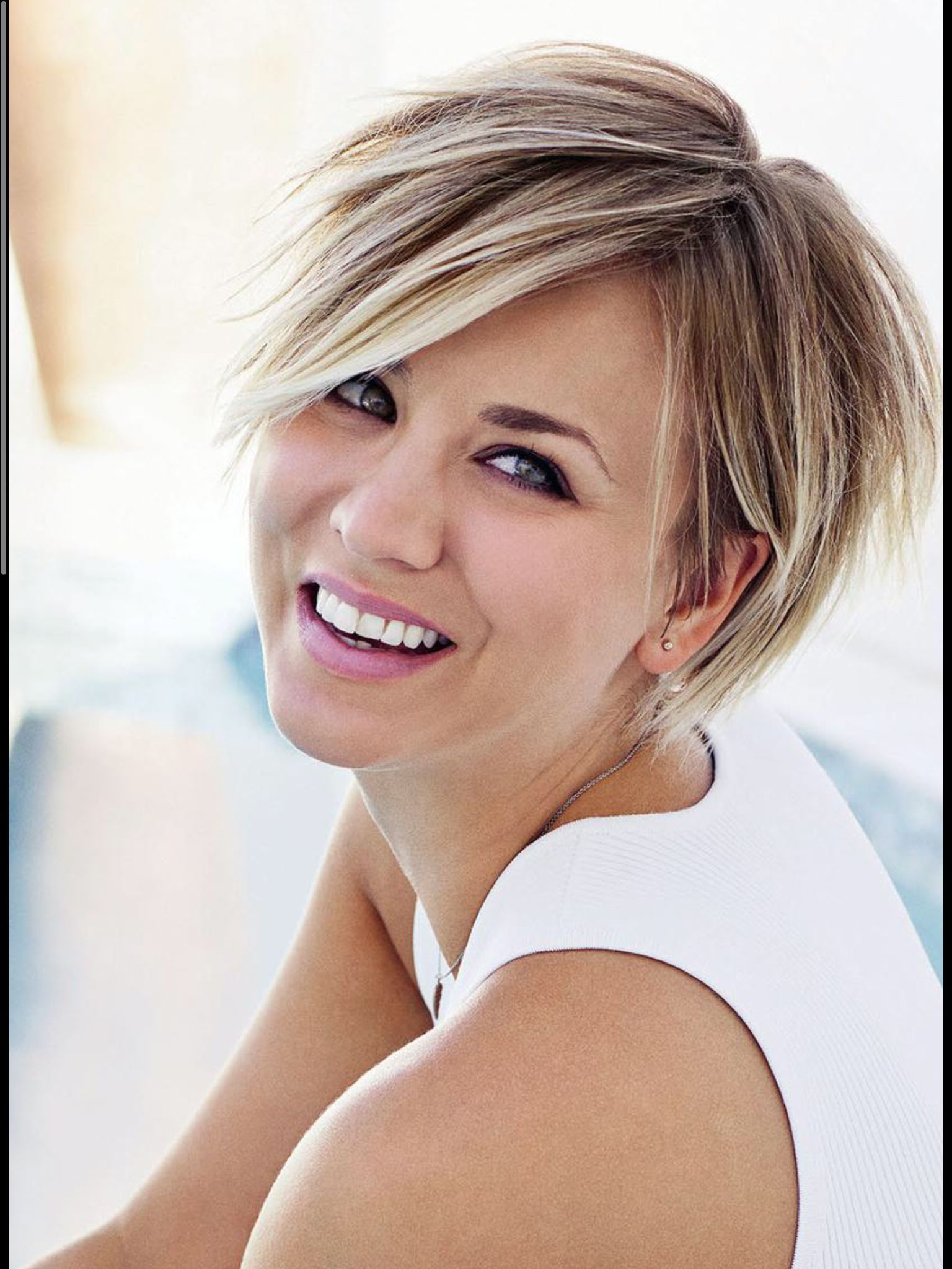 Love Kaley Cuoco's New Haircut! | Hair | Pinterest | Haircuts, Hair In Kaley Cuoco Short Hairstyles (View 9 of 25)