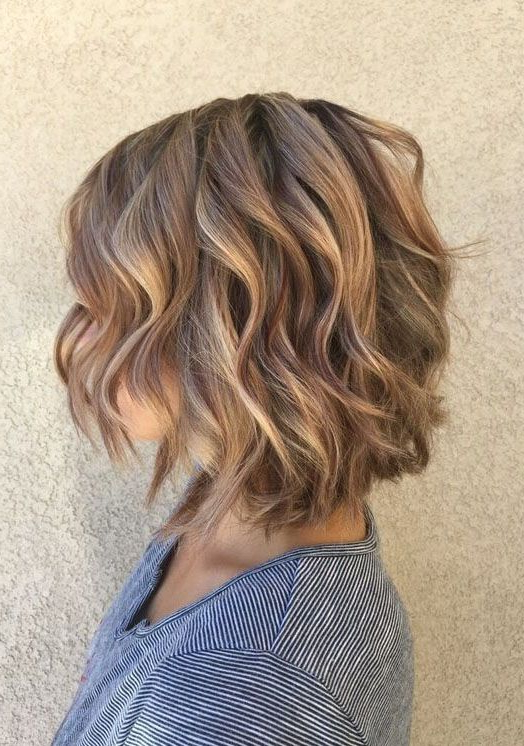 Low Lights & Soft Caramel Highlights With A Layered Bob Short With Regard To Perfectly Angled Caramel Bob Haircuts (View 14 of 25)