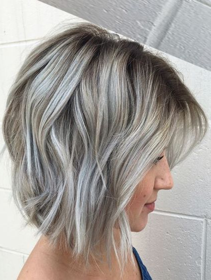 Many Dimensional Silver Grey Hair Color Ideas For Short Hairstyles Within Short Bob Hairstyles With Dimensional Coloring (View 14 of 25)
