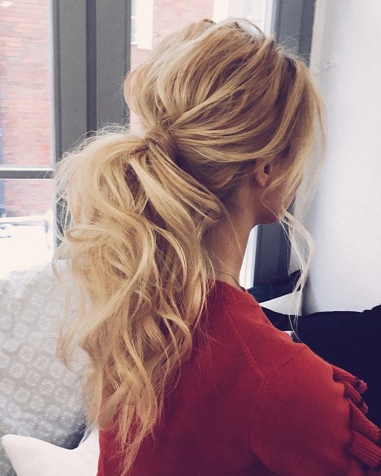 Messy Ponytail Hairstyles #weddinghair #ponytails #wedding Regarding Intricate And Messy Ponytail Hairstyles (View 2 of 25)