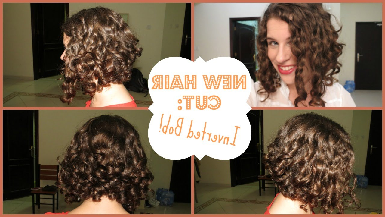 My New Hair Cut   Inverted Curly Bob! – Youtube Intended For Angled Brunette Bob Hairstyles With Messy Curls (View 23 of 25)