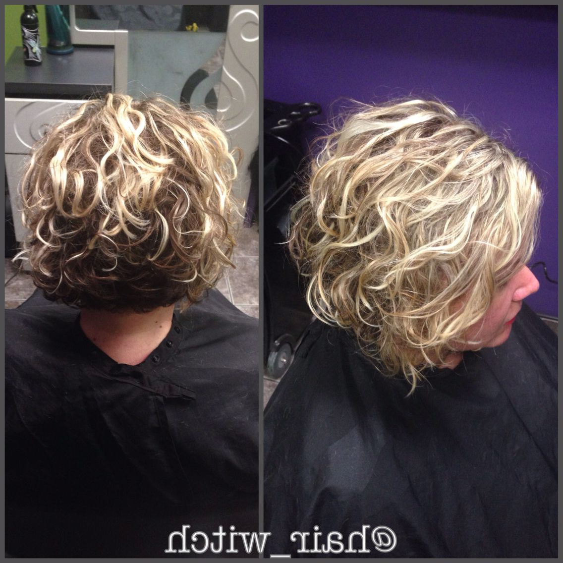 Natural Curly Short Inverted Blonde Bob, Styled With Devacurl in Nape-Length Blonde Curly Bob Hairstyles