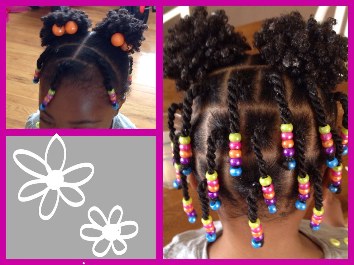 Natural Hair–Protective Style–Twists, Beads And Puffs! | Natural Within Black Little Girl Short Hairstyles (View 10 of 25)