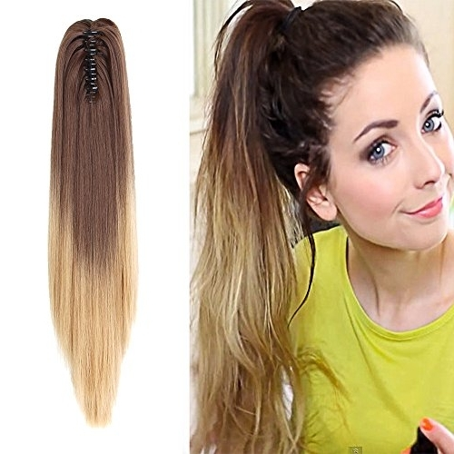 "Neverland Beauty 20""(50Cm) Ombre Two Tone Long Straight Clip In/on Pertaining To Wavy Free Flowing Messy Ponytail Hairstyles (View 24 of 25)"