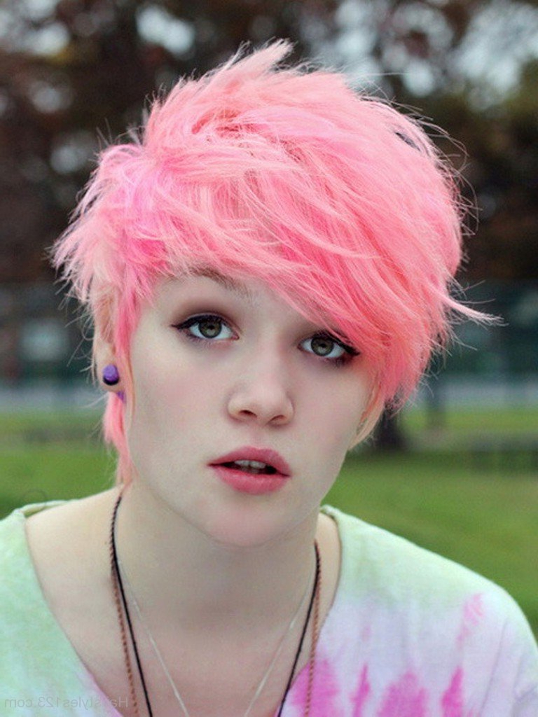 Pastel Pink Short Hair Pertaining To Pink Short Haircuts (View 10 of 25)