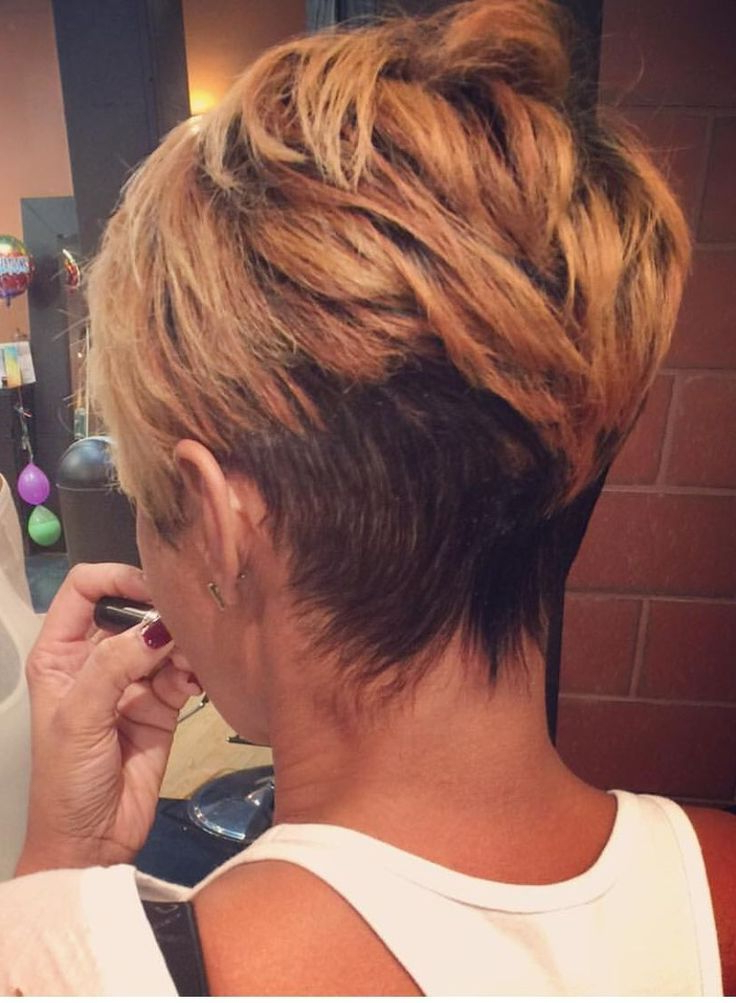Pinawedes Lary On Short Hairstyle In 2018 | Pinterest | Undercut Pertaining To Bronde Balayage Pixie Haircuts With V Cut Nape (View 20 of 25)