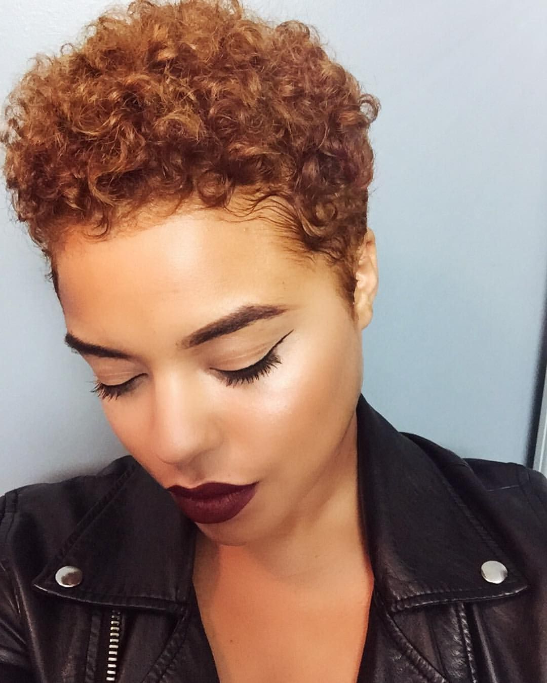 Pin?jada? On Black Women Hairstyles | Pinterest | Hair Pertaining To Tapered Brown Pixie Hairstyles With Ginger Curls (View 2 of 25)