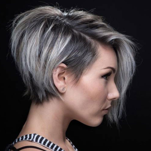 25 Collection Of Silver Side Parted Pixie Bob Haircuts
