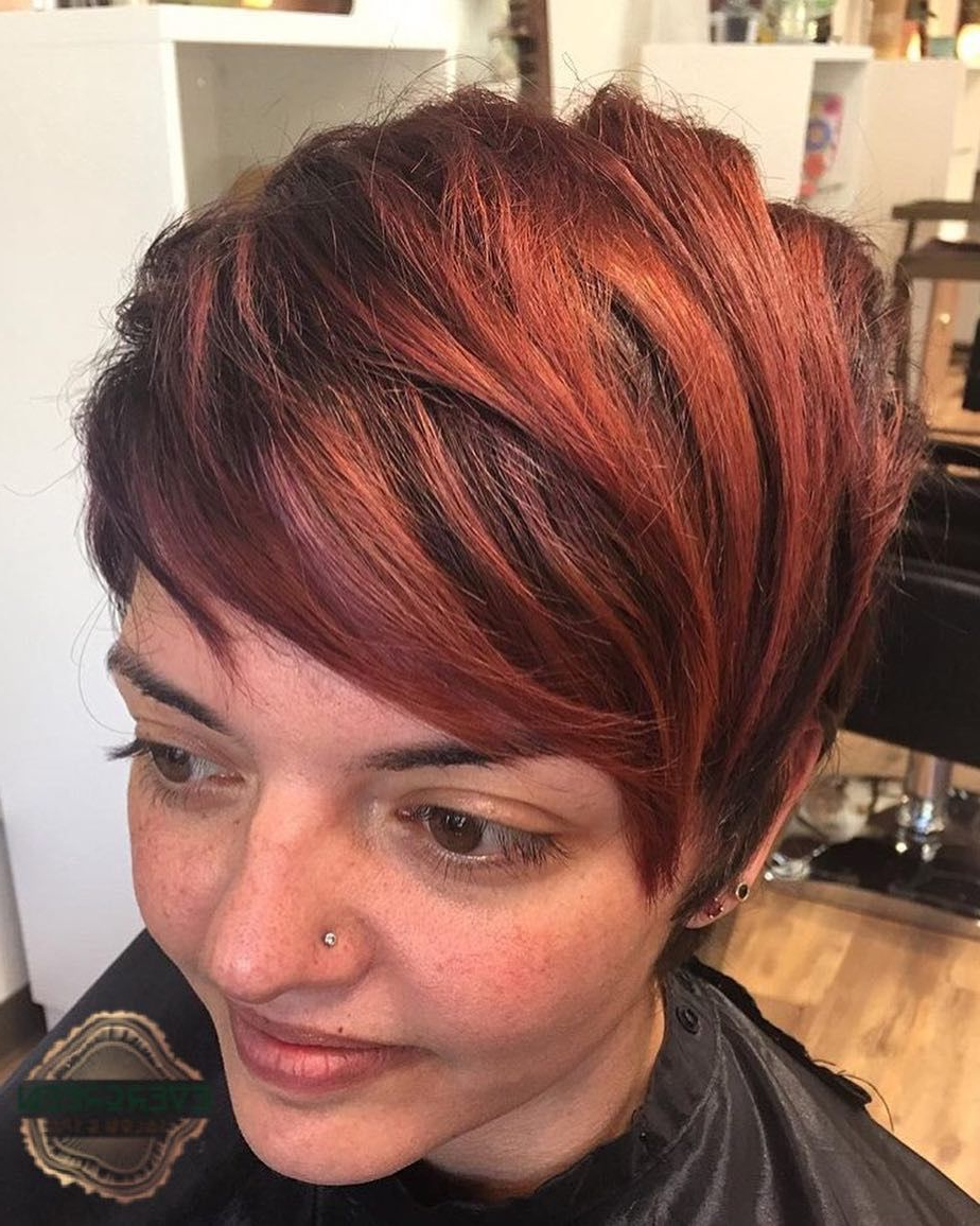 Pixie Fire Red Brown Color Cut Short Straight Hair   Stylist: Elisa Regarding Fire Red Short Hairstyles (View 2 of 25)