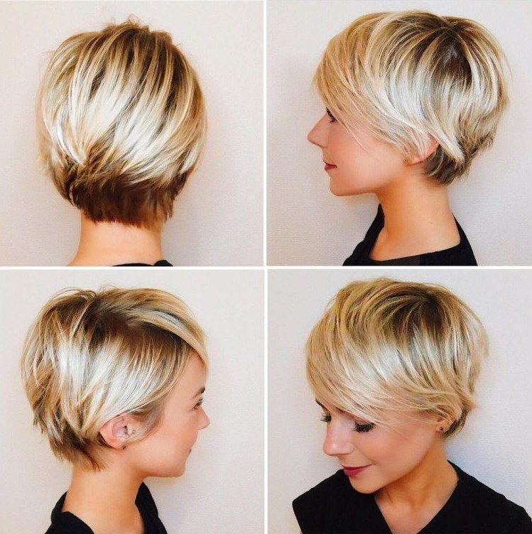 Pixie Haircuts With Bangs – 50 Terrific Tapers In 2018 | Short Hair With Regard To Bronde Balayage Pixie Haircuts With V Cut Nape (View 23 of 25)
