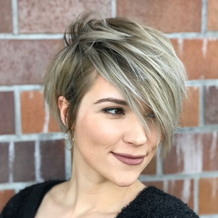 Pixie Haircuts With Bangs – 50 Terrific Tapers In 2018 | Tempting Regarding Bronde Balayage Pixie Haircuts With V Cut Nape (View 8 of 25)