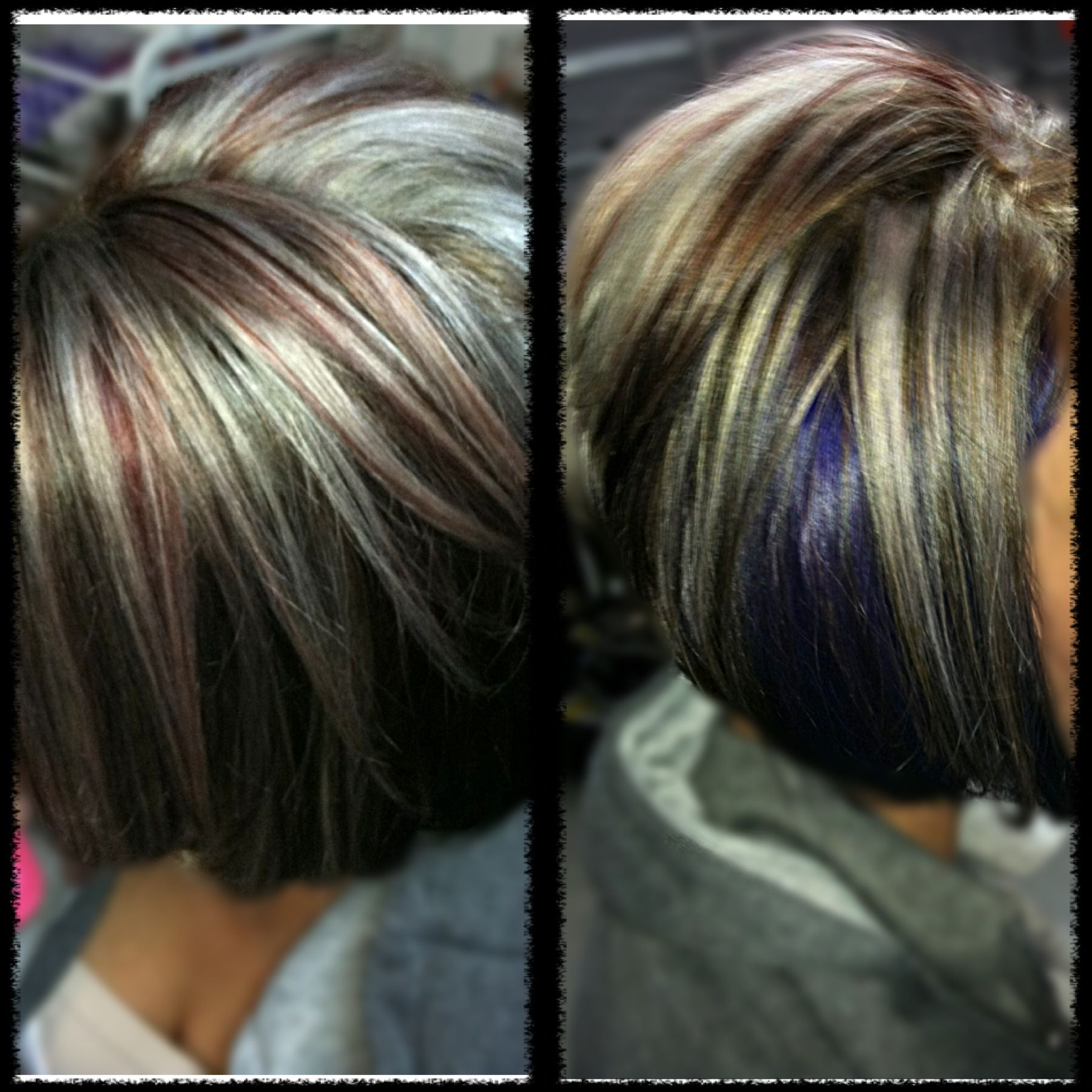 Platinum Blonde And Red Highlights Dark Brown Base Purple Peek Aboo With Short Haircuts With Red And Blonde Highlights (View 24 of 25)