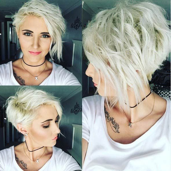 Platinum Blonde Asymmetrical Wavy Pixie: Messy, Layers | Making Up Throughout Messy Asymmetrical Pixie Bob Haircuts (View 8 of 25)