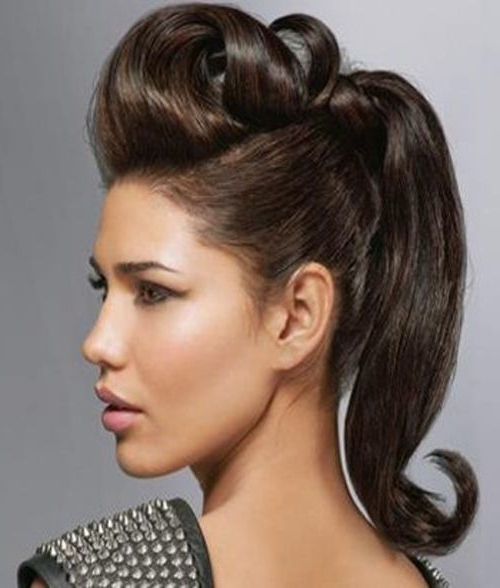 Pompadour Long Hair Women | Hairstyle | Pinterest | Hair, Hair Within Messy Blonde Ponytails With Faux Pompadour (View 8 of 25)