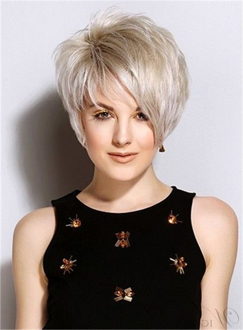 Popular Short Straight Haircuts Synthetic Hair Side Swept Friinges Inside Side Swept Short Hairstyles (View 23 of 25)