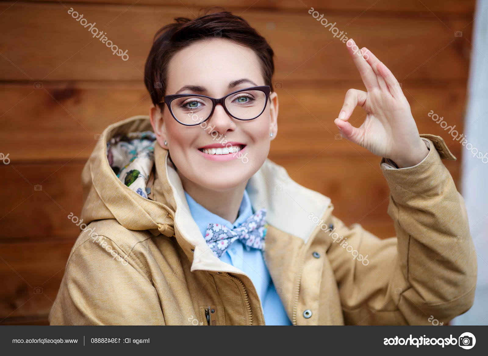 Portrait Of A Beautiful Young Woman With Stylish Short Haircut Intended For Short Haircuts For Women Who Wear Glasses (View 24 of 25)