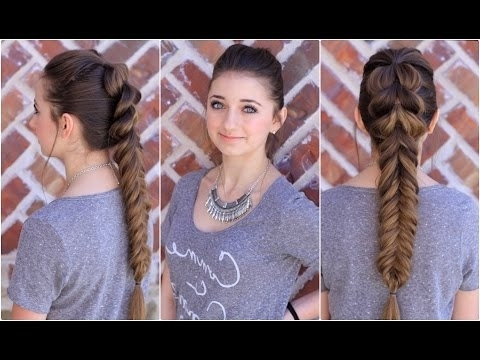 Pull Through Fishtail Combo | Cute Braids – Youtube Within Pony And Dutch Braid Combo Hairstyles (View 10 of 25)