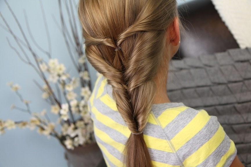 Quadruple Flipped Ponytail #2 | Easy Hairstyles | Cute Girls Hairstyles Inside Topsy Tail Low Ponytails (Gallery 20 of 25)