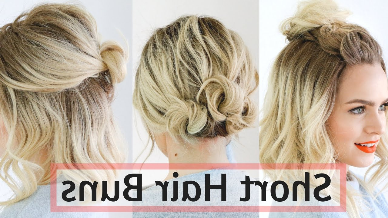 Quick Bun Hairstyles For Short / Medium Hair – Hair Tutorial! – Youtube Throughout Cute Wedding Hairstyles For Short Hair (Gallery 5 of 25)