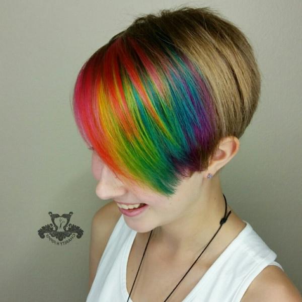 Rainbow Bangs ? Unicorn Hair Color Pixie Haircut Inside Asymmetrical Unicorn Bob Haircuts (View 22 of 25)