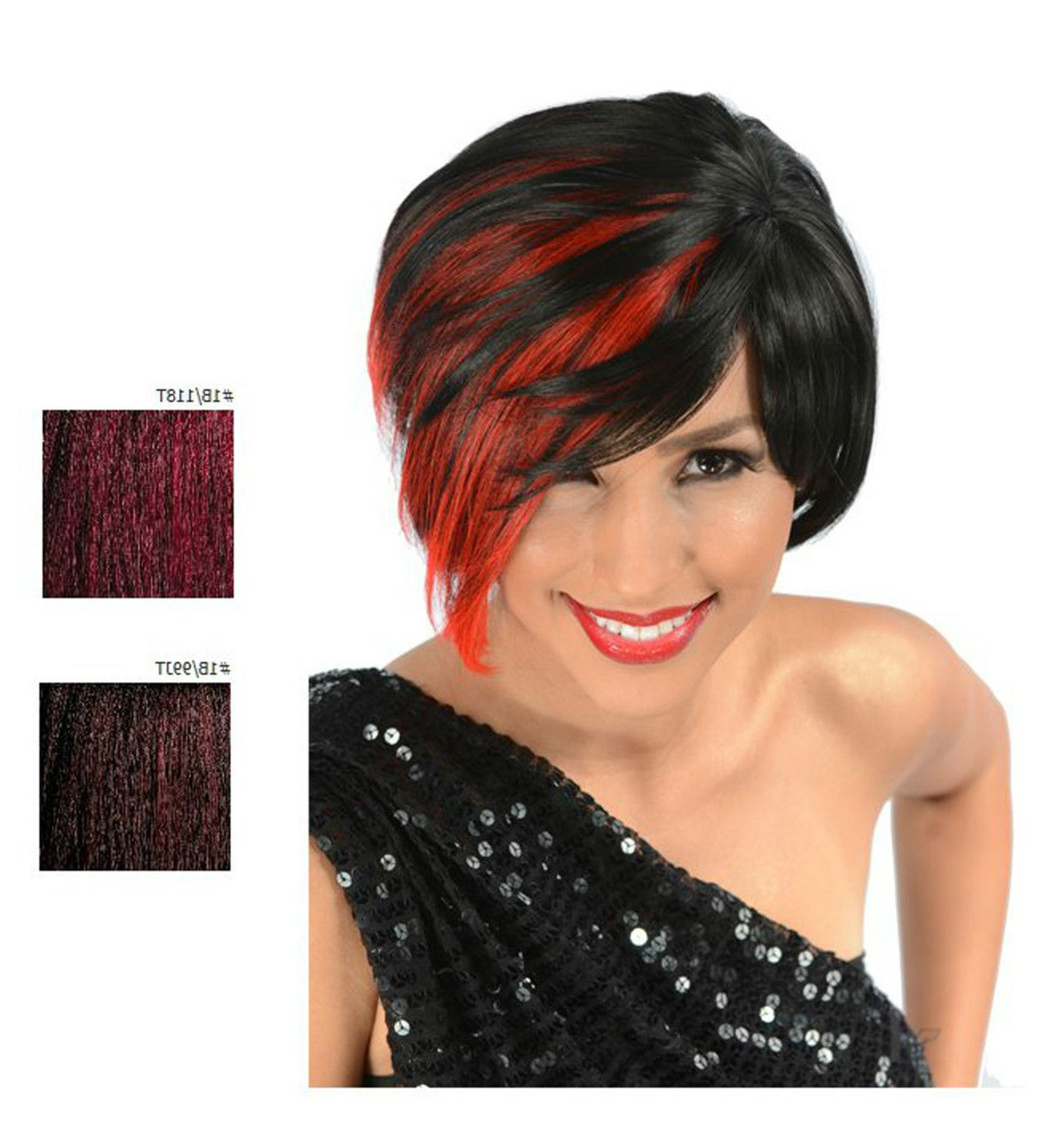 Rhiana Synthetic Short Hair Wig – Color: Black W/ Fire Red With Fire Red Short Hairstyles (View 4 of 25)