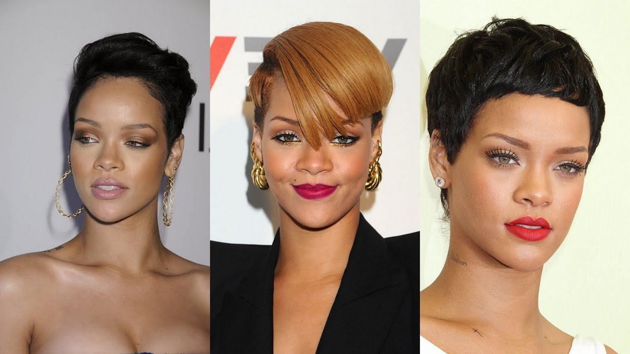 Rihanna Short Hairstyles – Youtube Throughout Short Weaves For Oval Faces (View 5 of 25)