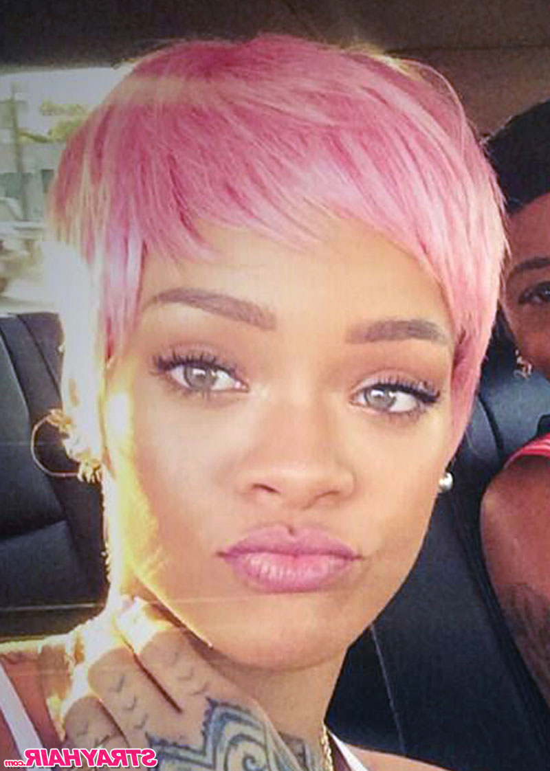 Rihannas Many Great Short Hairstyles – Strayhair Pertaining To Pink Short Haircuts (View 20 of 25)