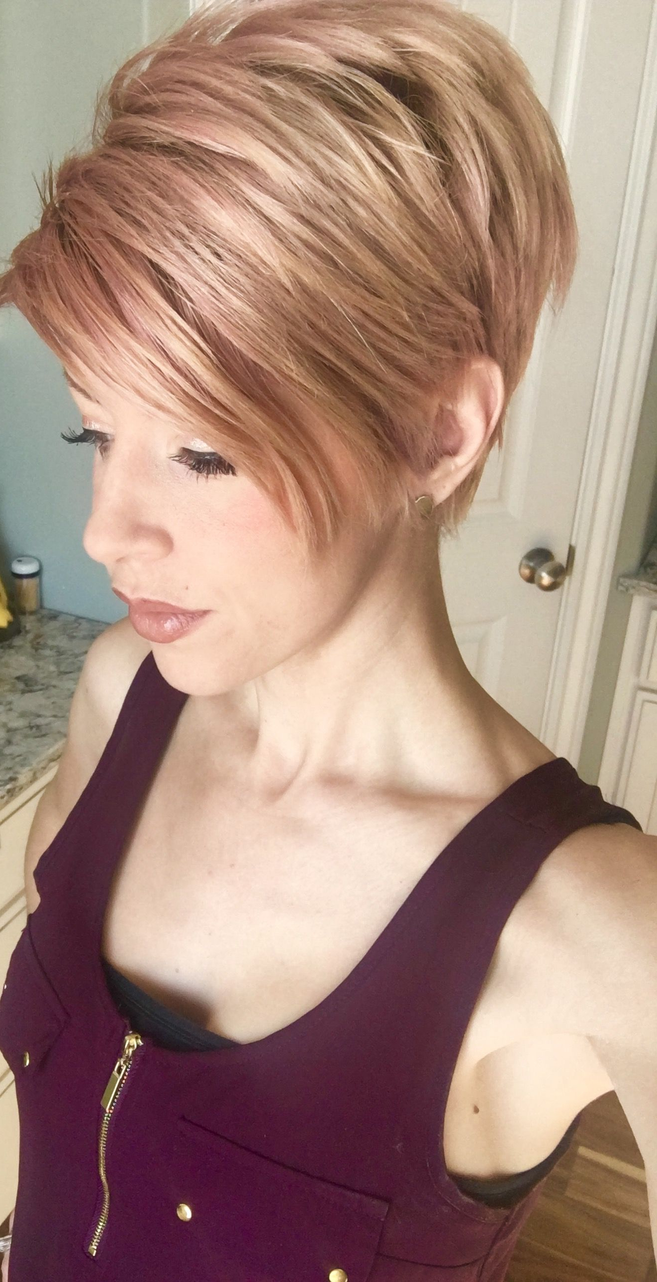 Rose Gold Pink Blonde Short Hair Pixie Cut On @calexisperiman | Hair For Pink Short Haircuts (View 21 of 25)