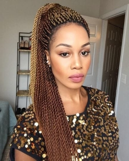 Senegalese Twist Styles: Ways To Work This Natural Hair Look For Blonde Braided And Twisted Ponytails (View 12 of 25)
