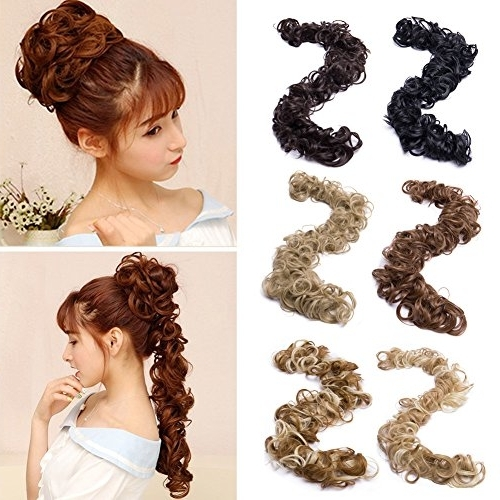 Sexybaby Combs Chignon Messy Curly Hair Bun Extension Clip In Updo For Wavy Ponytails With Flower (View 17 of 25)