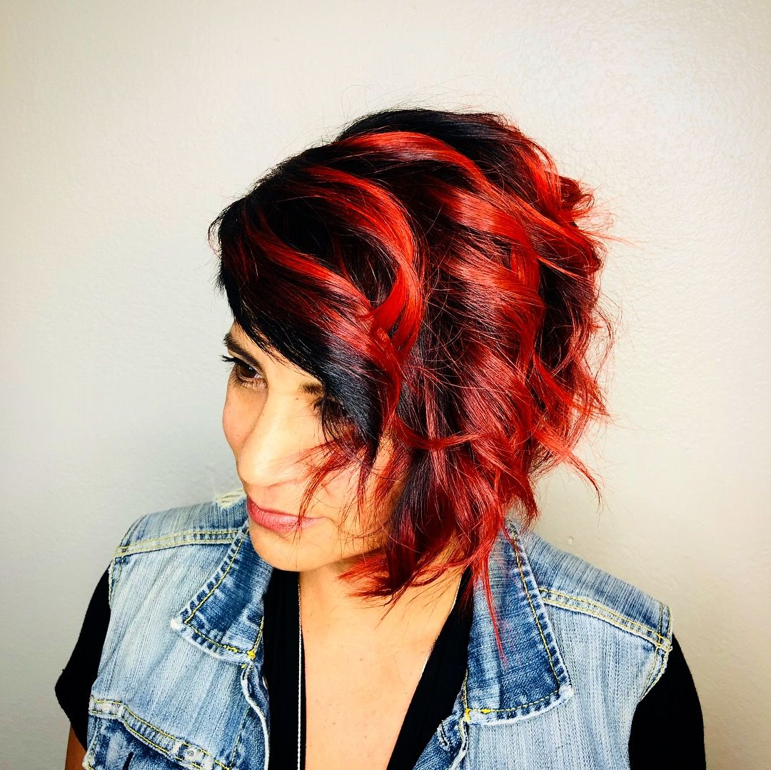 Shadow Root With Fire Red Balayage Ends @bosslasyhairdiva /insta Intended For Fire Red Short Hairstyles (View 15 of 25)