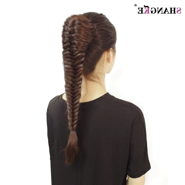 Shangke Long Straight Fishtail Braids Ponytail Clip In Plaited Rope Inside Fishtail Braid Ponytails (View 25 of 25)