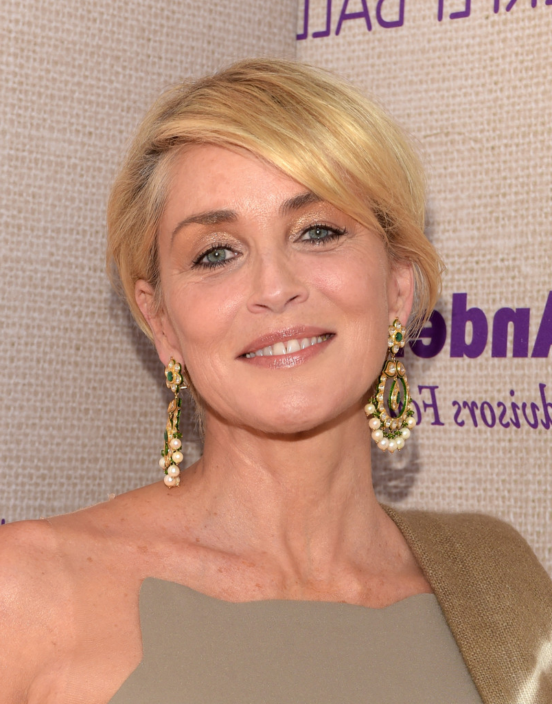 Sharon Stone Side Parted Straight Cut – Sharon Stone Short Inside Sharon Stone Short Haircuts (View 21 of 25)