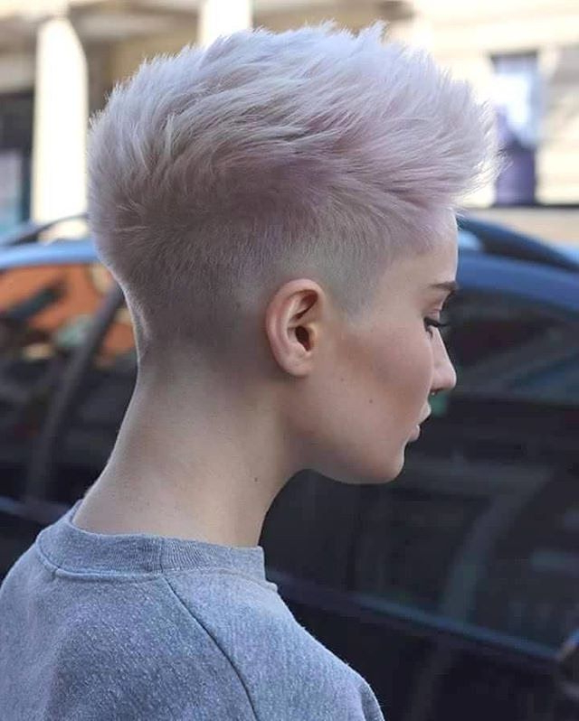 Shaved Pixie Cut Fohawk With Super Light Lavender Coloring | Pixie In Lavender Haircuts With Side Part (View 8 of 25)